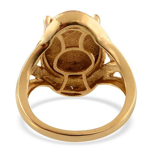 Meteorite (Ovl 14.00 Ct), Diamond Ring in 14K Gold Overlay Sterling Silver 14.010 Ct.