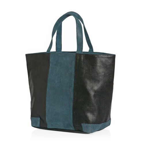 Close Out Deal - One Time Deal - Genuine Leather Black and Teal Blue Colour Corduroy Finish Tote Bag (Size 46x32x16 Cm)