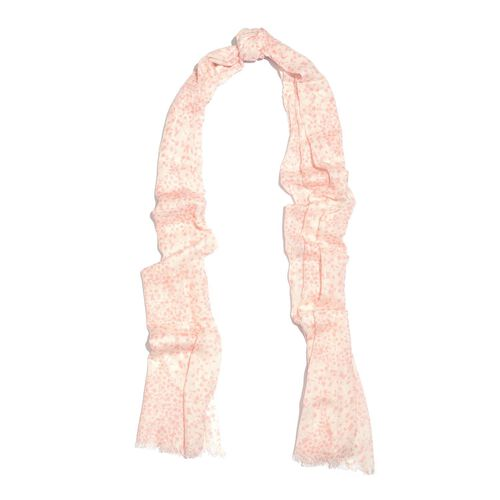 Designer Inspired-Pink and White Colour Floral Printed Scarf (Size 180x70 Cm)