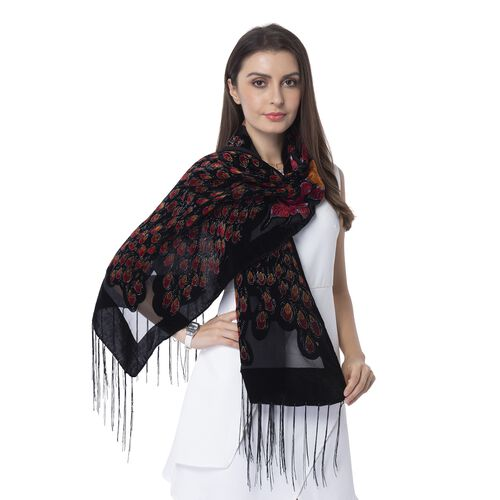 Designer Inspired- Black, Wine Red and Golden Colour Peacock Pattern Scarf with Tassels (Size 160x50 Cm)