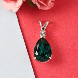 Emerald Swarovski Crystal , White Swarovski Crystal Solitaire Pendant  Sterling Silver 4.01 ct  4.010  Ct.