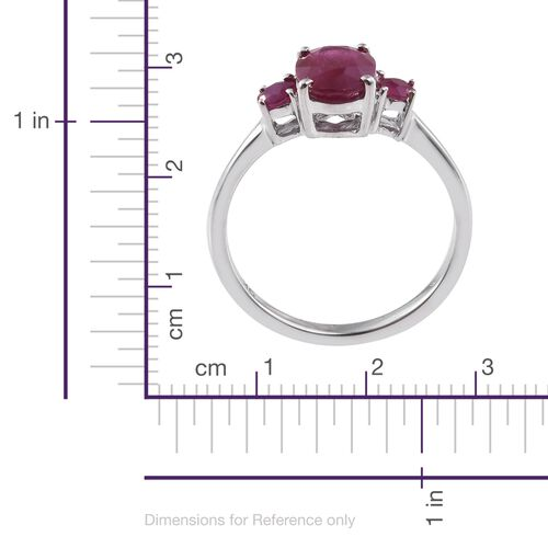 9K White Gold AAA Burmese Ruby (Ovl and Rnd) Ring 2.000 Ct.