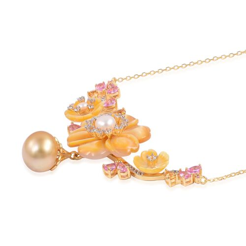Jardin Collection - Yellow Mother of Pearl, South Sea Golden Pearl, Pink Sapphire and Multi Gemstone Flower Necklace (Size 18 with 2 inch Extender) in Yellow Gold Overlay Sterling Silver