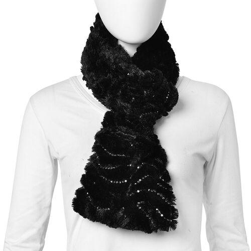 Black Colour with Sequins Faux Fur Infinity Scarf (Size 80x20 Cm)