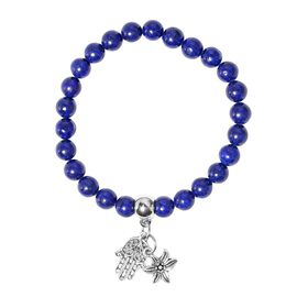 Lapis Lazuli (Rnd), Bracelet (Size 7.5 Strechable) with Multi Charm in Silver Tone