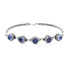 Royal Bali Collection - Tanzanite Bracelet (Size 7.5 with Extender) in Sterling Silver 9.50 Ct, Silv