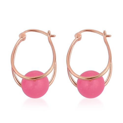 Super Auction - Pink Jade (Rnd 10 mm) Hoop Earrings (with Clasp) in Rose Gold Plated Sterling Silver 17.000 Ct.
