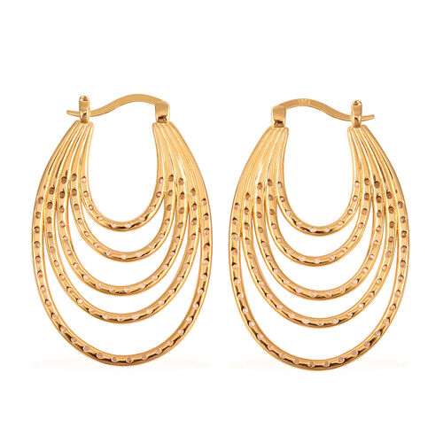 ELANZA Simulated Diamond Multilayer Hoop Earrings (with Clasp) in Yellow Gold Overlay Sterling Silver 3.84 Ct, Silver wt 11.03 Gms
