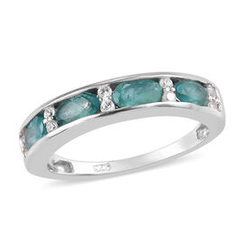 Grandidierite and Natural Cambodian Zircon Band Ring in Platinum Overlay Sterling Silver