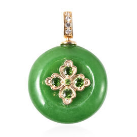 Green Jade, Russian Diopside and Natural Cambodian Zircon Enamelled Pendant in Yellow Gold Overlay S