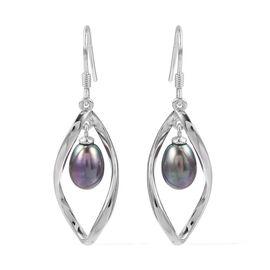 Peacock Pearl (Ovl) Hook Earrings in Rhodium Overlay Sterling Silver