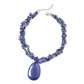 Lapis Lazuli, Simulated Sapphire Adjustable Necklace (Size 20 with 2 inch Extender) in Silver Tone 7