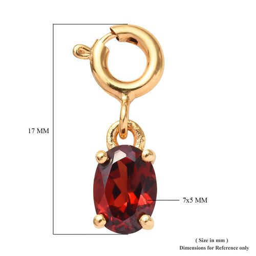 Mozambique Garnet (Ovl) Charm in 14K Gold Overlay Sterling Silver 1.00 Ct.