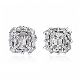 0.21 Ct Diamond Cluster Stud Earrings with Push Back in Platinum Plated Silver
