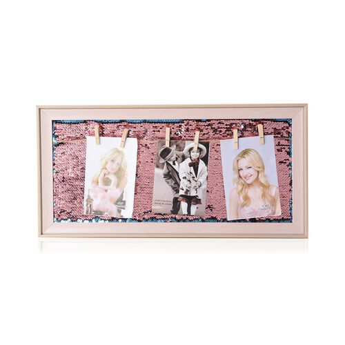 Photo Frame with Double Sided Sequin Background (Size 49x24 Cm) - Colour Pink Wood, Pink and Blue