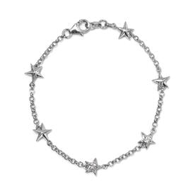 Natural Cambodian Zircon (Rnd) Star Bracelet (Size 7.5) in Platinum Overlay Sterling Silver 0.25 Ct,