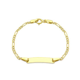 9K Yellow Gold Kids Figaro Bracelet (Size 5)