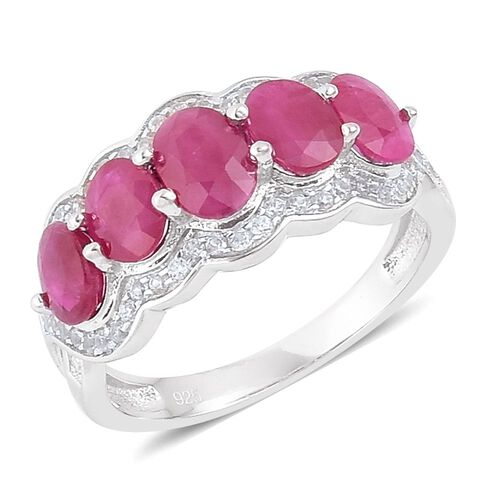Burmese Ruby (Ovl), Natural Cambodian Zircon Ring in Platinum Overlay Sterling Silver 3.00 Ct.