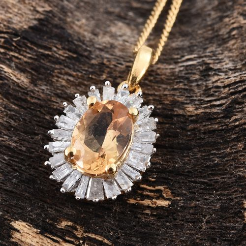 Limited Edition- Designer Inspired- Imperial Topaz (Ovl), Diamond Pendant With Chain in 14K Gold Overlay Sterling Silver 1.100 Ct.
