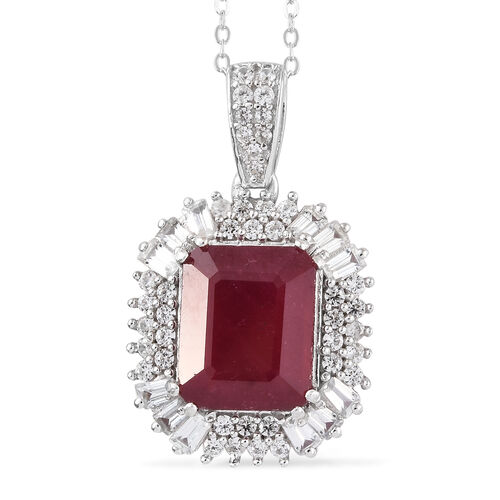 11 Carat African Ruby and Zircon Halo Pendant With Chain in Platinum Plated Silver