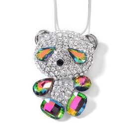 Magic Colour Simulated Diamond, White and Black Austrian Crystal Bear Pendant with Chain (Size 29 and 2.5 inch Extender) in Silver Tone
