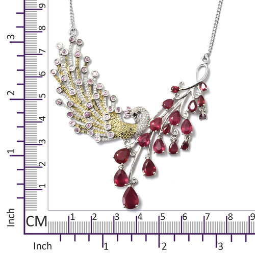 African Ruby (Pear), Multi Gem Stone and Diamond Necklace (Size 18) in Platinum Overlay with Green Plating Sterling Silver 17.500 Ct, Silver wt 24.89 Gms.