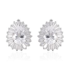 ELANZA Simulated Diamond (Pear and Bgt) Earrings (with Push Back) in Rhodium Overlay Sterling Silver
