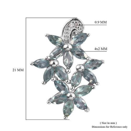 Narsipatnam Alexandrite and Diamond Floral Pendant in Platinum Overlay Sterling Silver 1.25 Ct.