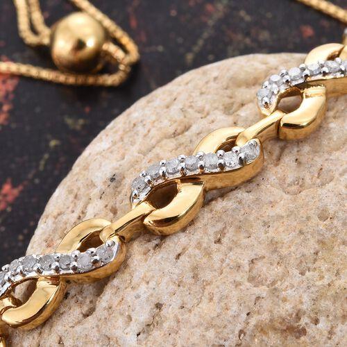 Diamond (Rnd) Adjustable Infinity Linked Bracelet (Size 6.5 to 8) in 14K Gold Overlay Sterling Silver 0.250 Ct.