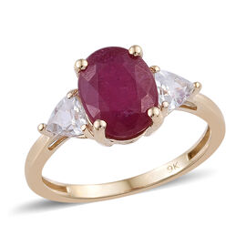 9K Yellow Gold AAA African Ruby (Ovl), Natural Cambodian Zircon Ring  3.280 Ct.