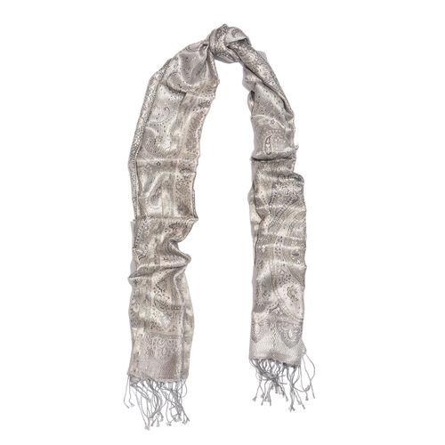 SILK MARK- 100% Superfine Silk Silver and Multi Colour Jacquard Jamawar Scarf with Fringes (Size 180x35 Cm)