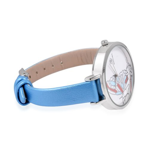 STRADA Japanese Movment White Austrian Crystal Studded Butterfly Water Resistant Watch with Blue Colour Strap