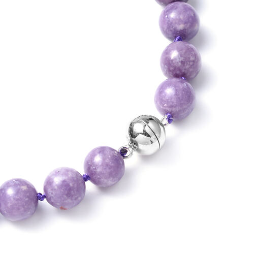 Lepidolite Beads Necklace (Size 20) in Rhodium Overlay Sterling Silver 342.50 Ct.