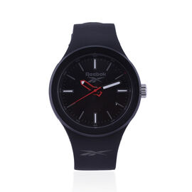 Reebok Water Resistant Sports Watch with Silicone Strap in Black