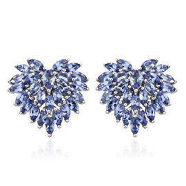 Tanzanite (Mrq) Stud Earrings (with Push Back) in Platinum Overlay Sterling Silver 5.000 Ct.