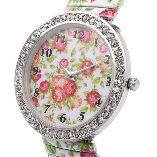 2 Piece Set STRADA Japanese Movement White Austrian Crystal Studded Flower Pattern Watch with Fuchsia Colour Pen