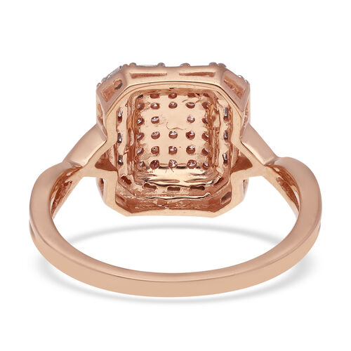 9K Rose Gold Natural Pink Diamond and White Diamond Cluster Ring 0.50 Ct.