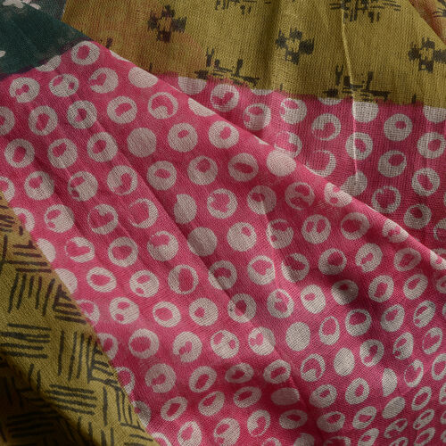 100% Cotton Pink, Grey, Green and Multi Colour Printed Kaftan (Free Size), Bag (Size 50x40 Cm) and Flip Flop