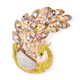 Multicolour Austrian Crystal Peacock Brooch in Gold Tone