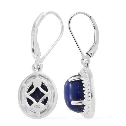 Lapis Lazuli (Ovl) Lever Back Earrings in Sterling Silver 5.000 Ct.