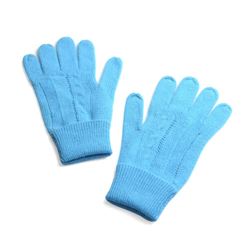 Winter Special - 80% Wool Blue Colour Gloves (Free Size)