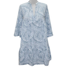 Long Sleeve Leaf Print Tunic Dress