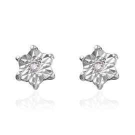 Diamond Stud Earrings (with Push Back) in Platinum Overlay Sterling Silver 0.87 Ct