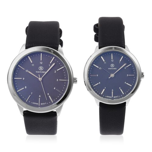 Set of 2 STRADA Japanese Movement Water Resistant  Blue Colour Dial Watch with Black Strap