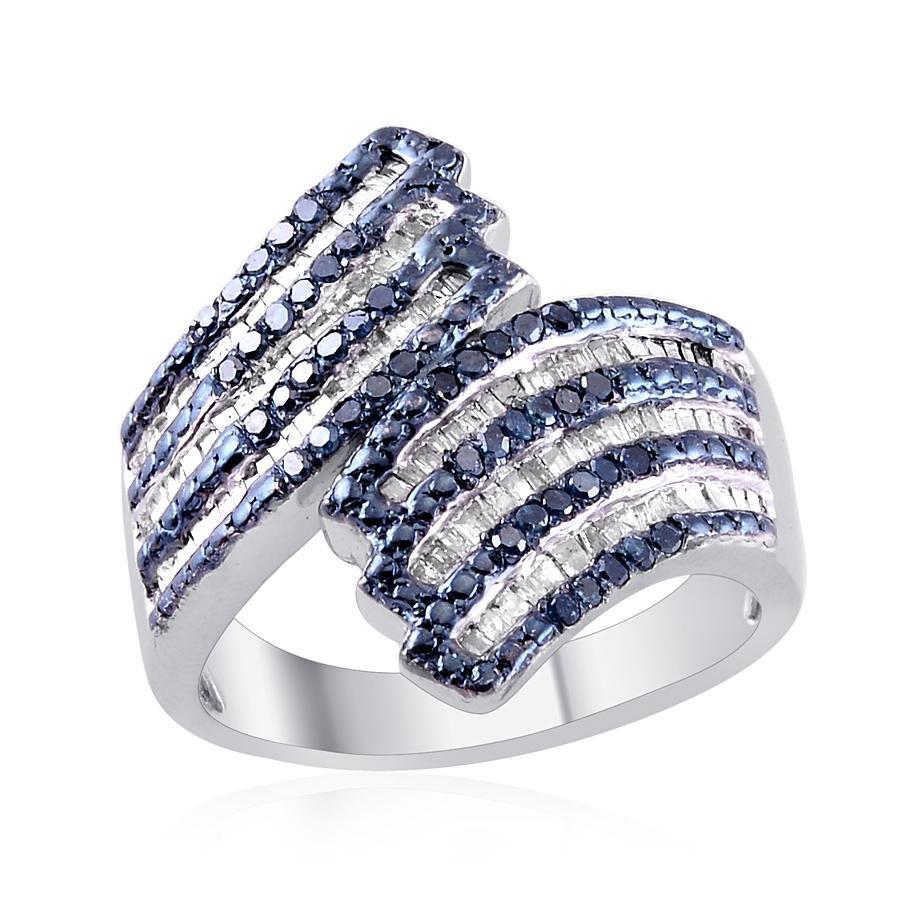 Blue Diamond Platinum: Blue Diamond (Rnd), Diamond Crossover Ring In Platinum