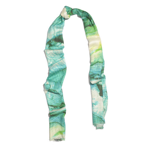 Green and Multi Colour Digital Printed Scarf (Size 200x70 Cm)