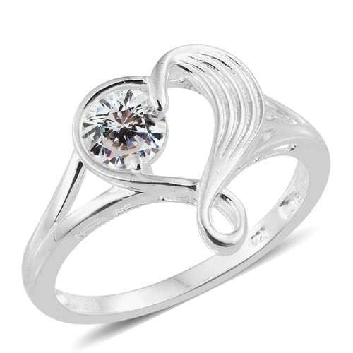 J Francis - Sterling Silver (Rnd) Heart Ring Made with SWAROVSKI ZIRCONIA