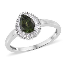 9K White Gold AA Nigerian Green Tourmaline (Pear), Diamond Ring  0.915 Ct.