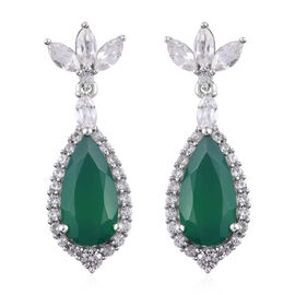 11.51 Ct Verde Onyx and Cambodian Zircon Drop Earrings in Platinum Plated Sterling Silver 5 Grams