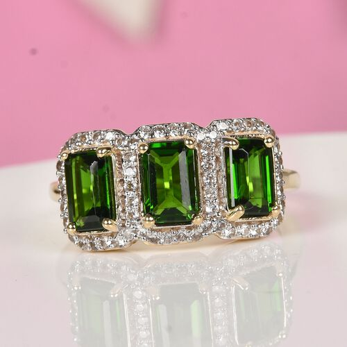 9K Yellow Gold Russian Diopside and Natural Cambodian Zircon Ring 2.25 Ct.